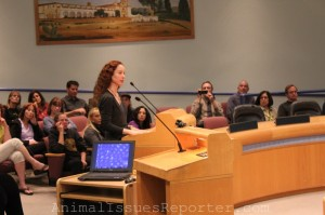 Elizabeth Oreck of Best Friends Animal Society speaks about the ordinance amidst supporters and opponents